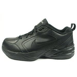 Nike Air Monarch Black Leather Walking Shoes